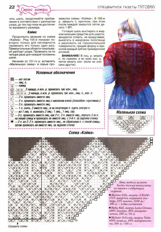 Шаль кири схема и описание вязания на русском языке 65
