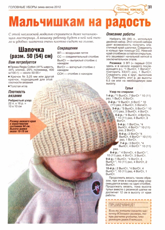 Как связать шапку для мальчика схемы